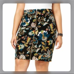 Inc night rider floral zip front skirt size 22